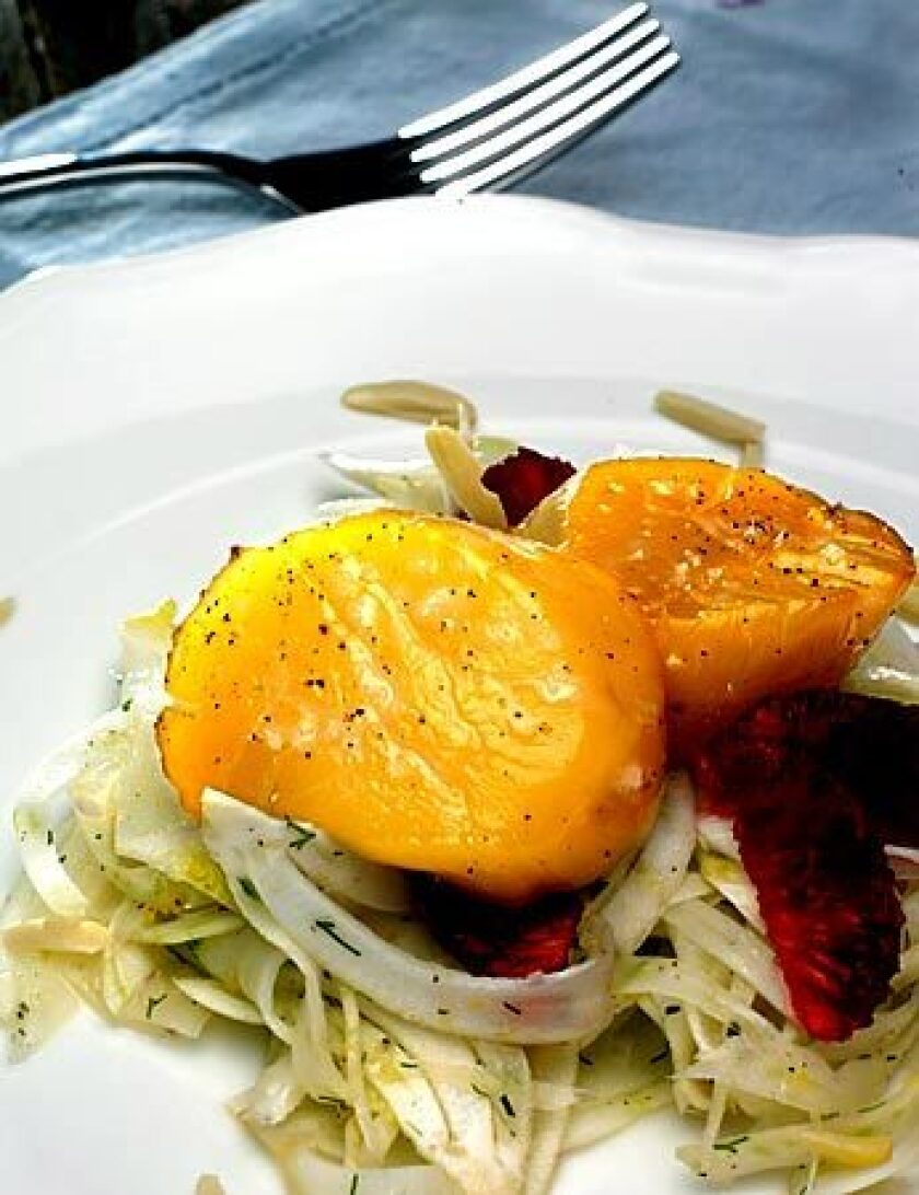 Alder-smoked scallops with fennel salad
