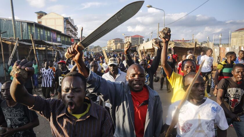 Ethnic violence flared in Nairobi's Kawangware neighborhood in the aftermath of Thursday's election.