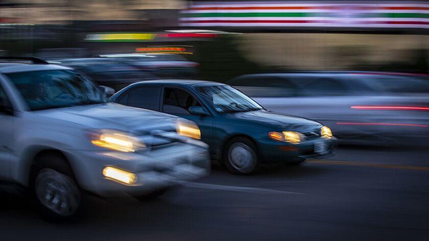 NORTHRIDGE, CALIF. -- WEDNESDAY, JUNE 27, 2018: A slow-shutter speed captures the movement of vehic