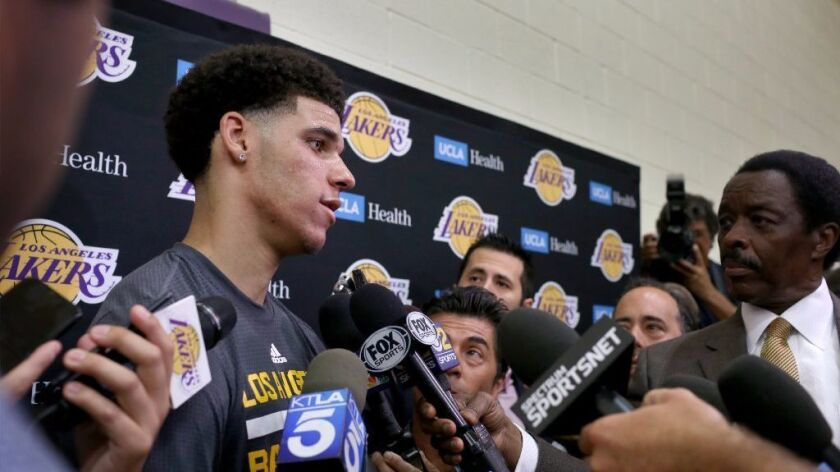 UCLA guard Lonzo Ball speaks with the media following his first workout for the Lakers on June 7.