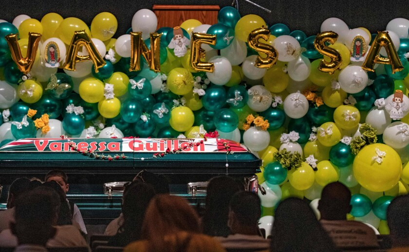 The casket of US Army Specialist Vanessa Guillen is seen during a public memorial at Chavez High School.