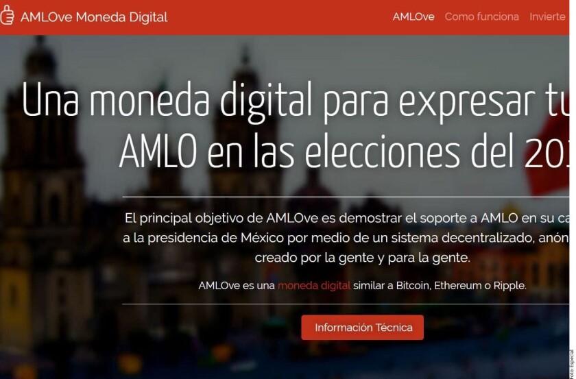 """La criptomoneda """"AMLOve Coin"""", ofertada en el sitio web amlovecoin.org y cuyo dominio se mantiene activo desde el 2 de enero en Vancouver, Canadá, ha sido lanzada con el presunto objetivo de apoyar a Andrés Manuel López Obrador."""