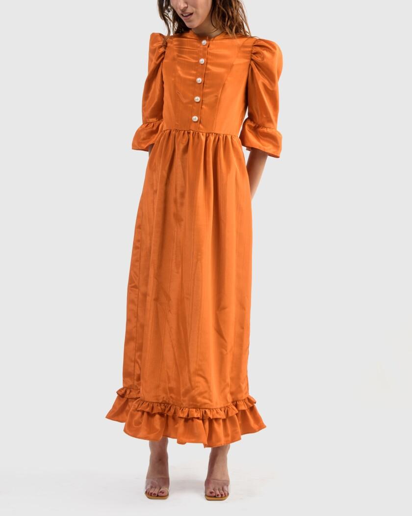 Button-up long prairie dress in orange by Batsheva.