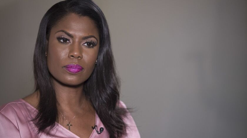 """Former White House staffer Omarosa Manigault Newman, whose new book is """"Unhinged: An Insider's Account of the Trump White House,"""" on Aug. 14, 2018."""