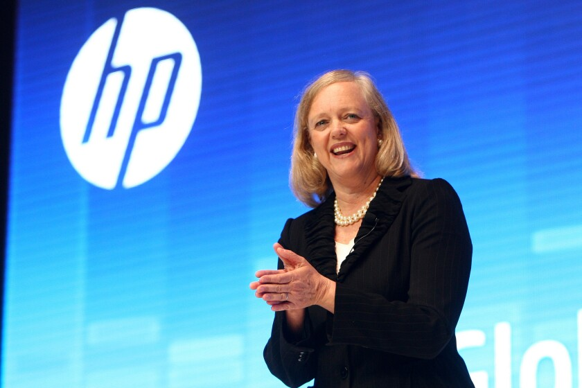 H-P Chairman and CEO Meg Whitman, addressing an audience in Shanghai, China, in 2012.