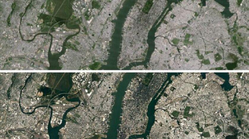 Nueva York vista desde el cielo en la versión anterior (arriba) y actual (abajo) de Google Earth.