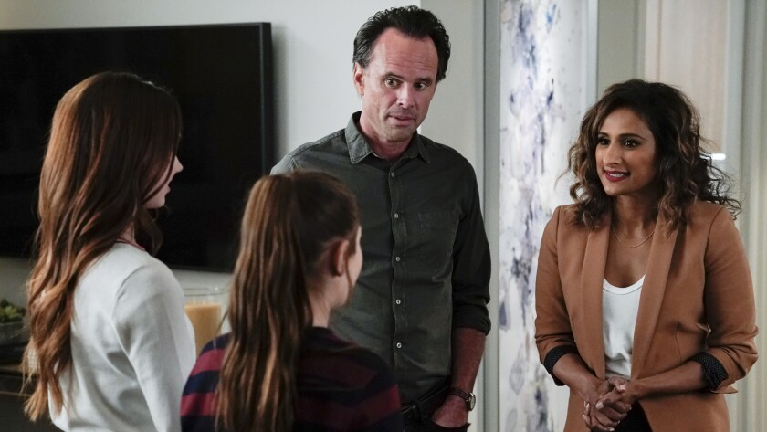 "Ruby Jay, left, Makenzie Moss, Walton Goggins and Sarayu Blue in ""The Unicorn"" on CBS."