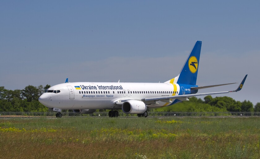 The Ukrainian Boeing 737-800 UR-PSR that crashed on the outskirts of Tehran is pictured in 2018.