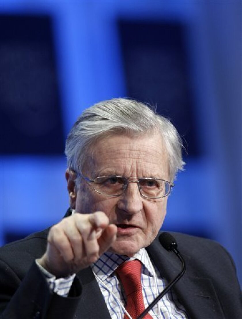 President of the European Central Bank Jean Claude Trichet speaks during a session 'Redesigning Financial Regulation' at the World Economic Forum in Davos, Switzerland on Saturday Jan. 30, 2010. (AP Photo/Virginia Mayo)
