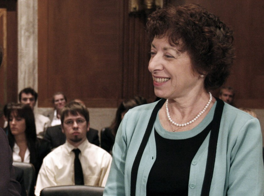 FILE - In this Tuesday, Sept. 29, 2009, file photo, Dr. Linda Birnbaum, then-director of the National Institute of Environmental Health Sciences, appears on Capitol Hill in Washington, before a hearing. Birnbaum joined health experts on Wednesday, Nov. 13, 2019, in expressing alarm as the Trump administration moves forward with a proposal that scientists say would upend how the U.S. regulates threats to public health. (AP Photo/Harry Hamburg, File)