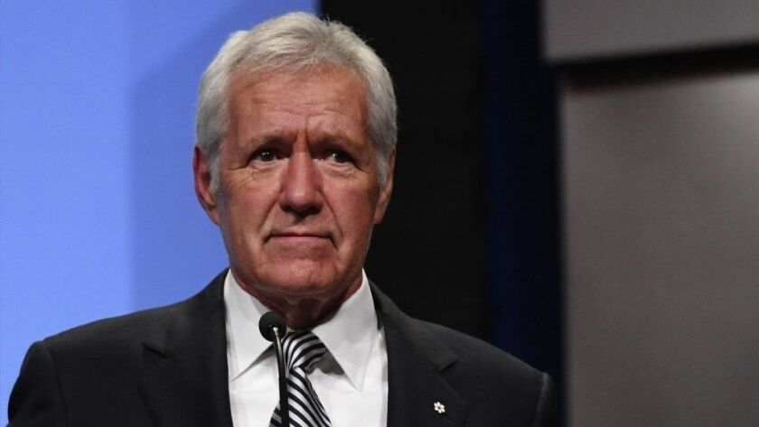"""FILE: """"Jeopardy!"""" Host Alex Trebek Diagnosed With Cancer The NAB Achievement In Broadcasting Dinner"""