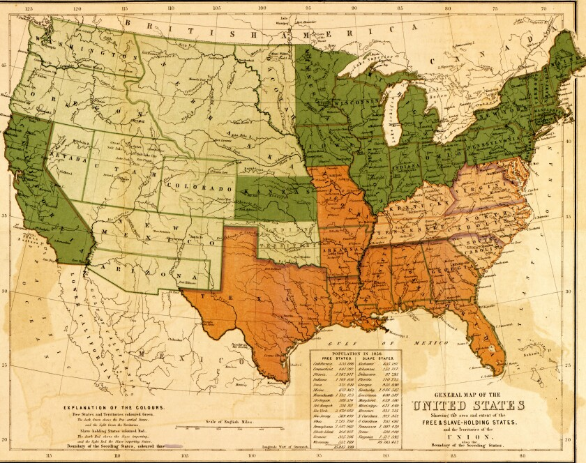 A map of the United States, showing the distinctions and boundaries between slave-holding and free states