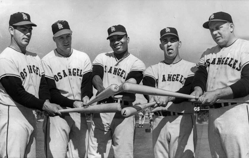 Angels sluggers at spring training in 1962 include, from left, outfielders Ken Hunt, Lee Thomas and Leon Wagner, catcher Earl Averill and first baseman Steve Bilko.