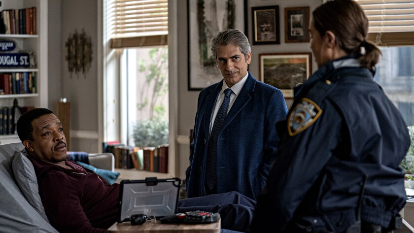 "Russell Hornsby, left, Michael Imperioli and Arielle Kebbel  in ""Lincoln Rhyme: Hunt for the Bone Collector"" on NBC."