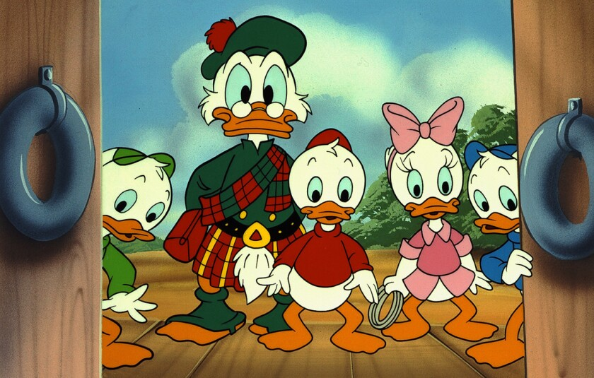Uncle Scrooge McDuck, with grandnephews Huey, Dewey and Louie and their friend Webby (in pink bow).