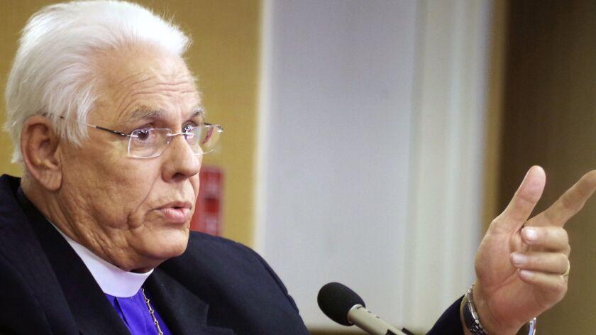 Bishop J. Jon Bruno speaks at his misconduct hearing in March in Pasadena.
