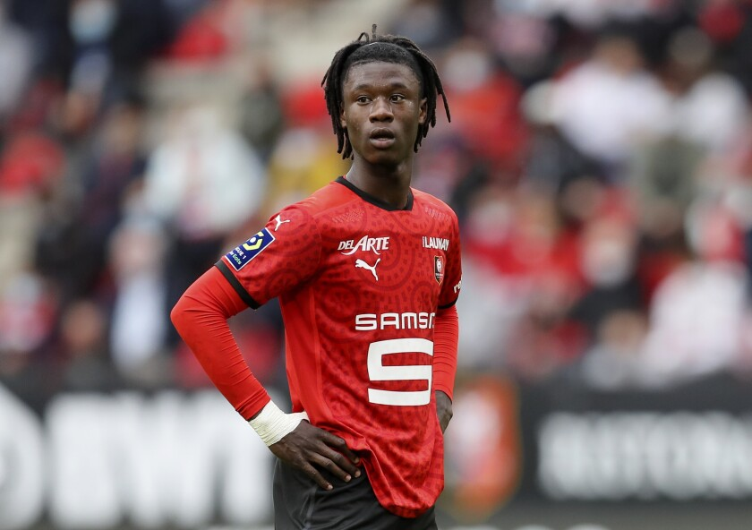 FILE - In this Saturday, Aug. 29, 2020 file photo, Rennes' Eduardo Camavinga looks on during the League One soccer match between Rennes and Montpellier, at the Roazhon Park stadium in Rennes, France. Judo's loss is French soccer's gain. Having dreamed of kimonos as a kid, the 17-year-old Eduardo Camavinga is now the nation's biggest talent since Kylian Mbappés sensational emergence with Monaco in 2016. (AP Photo/David Vincent, File)