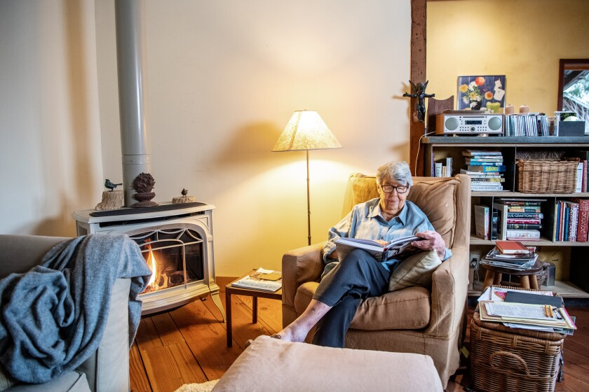 Sally Schmitt relaxes at home in Philo, Calif.