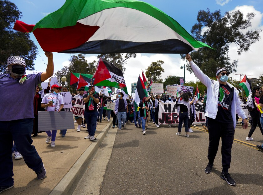 Ali Elfarra waved a Palestinian flag over his head as he marched with hundreds of people in support of Palestine