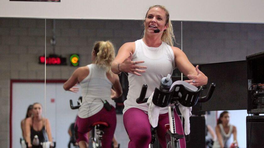 Julie Hannan, fitness and wellness coordinator for the Associated Students/SDSU programs, teaches a