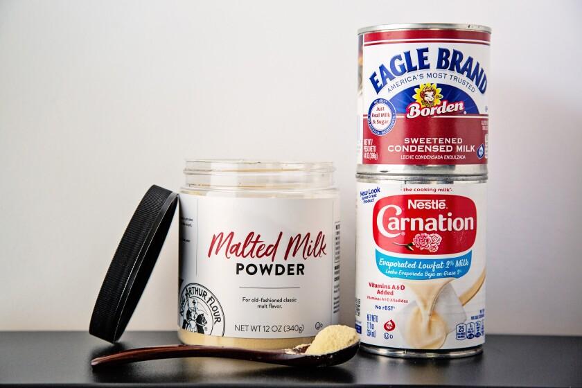 Three types of shelf stable milk: malted milk powder, sweetened condensed milk and evaporated milk.