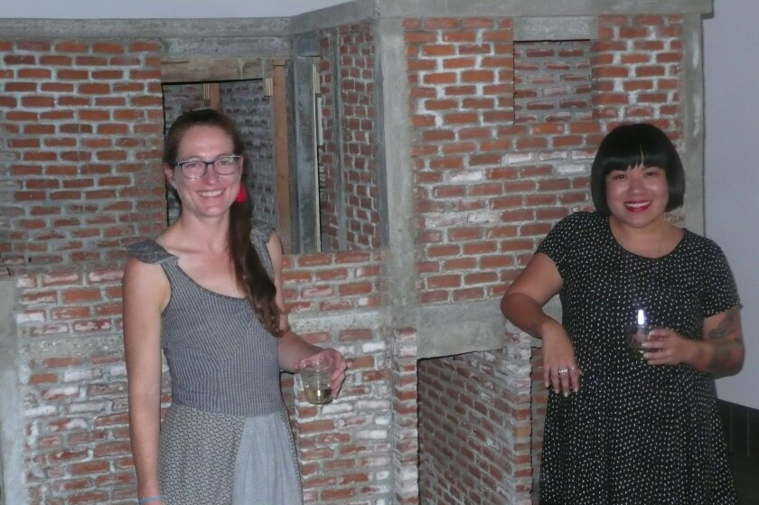 Artist Adela Goldbard and Melinda Guillen, curator of the 'No Longer Extant' exhibit