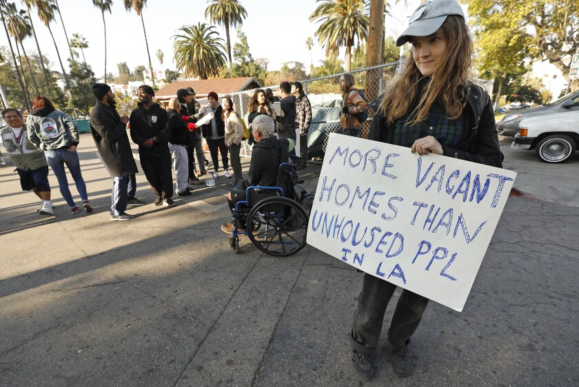 Joanna Swan at a demonstration to stop a sweep of an Echo Park homeless encampment.