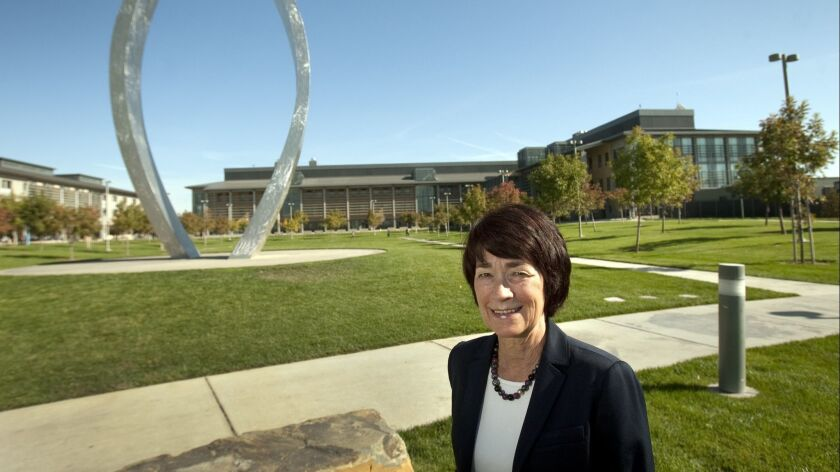 MERCED, CA - OCT. 26, 2012: University of California, Merced chancellor Dorothy Leland poses for a