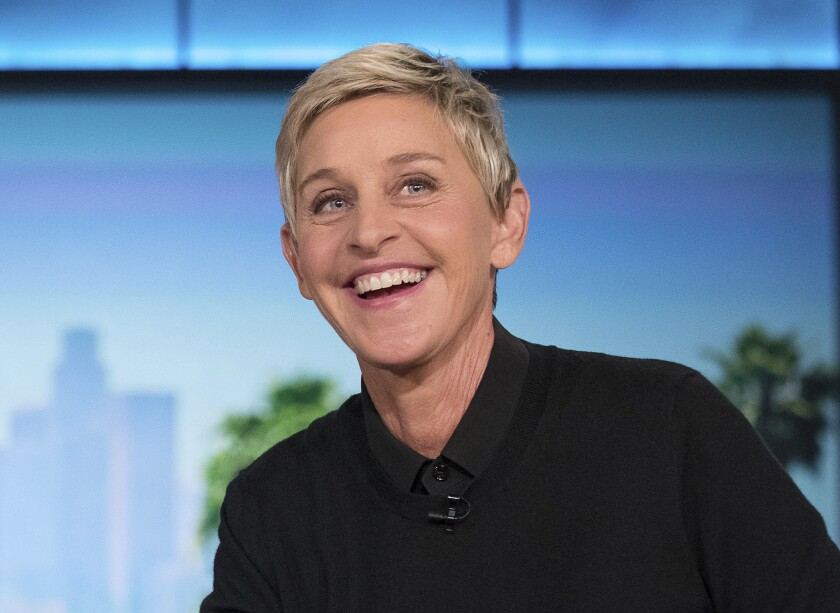 """FILE - In this Oct. 13, 2016 file photo, Ellen DeGeneres appears during a commercial break at a taping of """"The Ellen Show"""" in Burbank, Calif. The Golden Globe Awards announced Monday, Nov. 5, 2019, it will give its new Carol Burnett Award, a TV special achievement trophy, to DeGeneres who has been a pioneering sitcom star, a TV talk show host and a game show host. (AP Photo/Andrew Harnik, File)"""