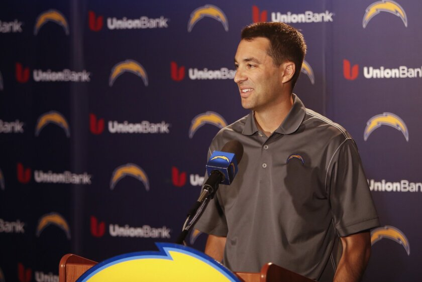 Tom Telesco General Manager of the San Diego Chargers holds a press conference to speak about pre-draft talks.