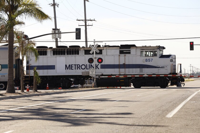 A Metrolink train moves through Oxnard on Feb. 25.
