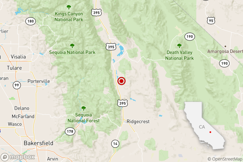 The location of a magnitude 4.6 earthquake Wednesday evening near Ridgecrest, Calif.