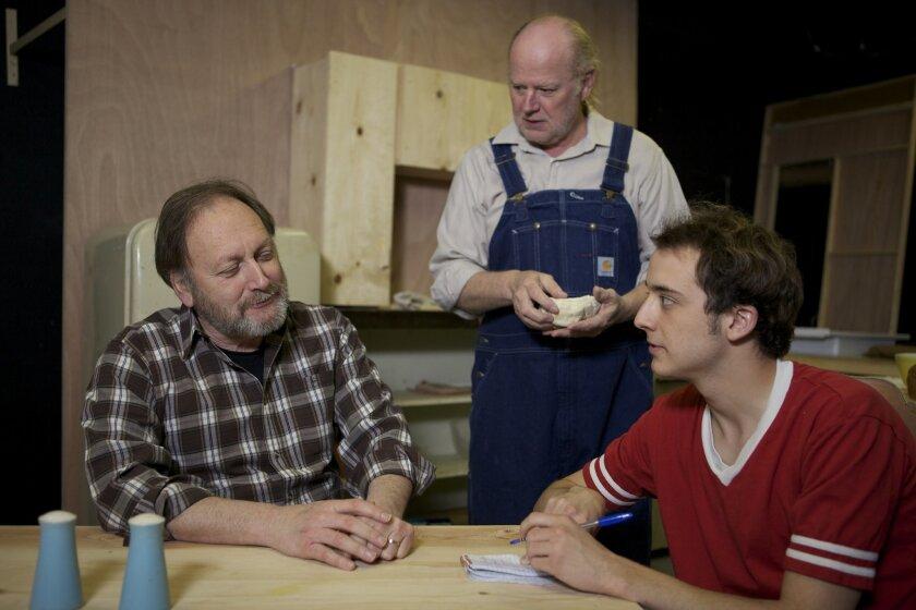 "Frank Corrado, Paul Hopper and Kevin Koppman-Gue in North Coast Rep's ""The Drawer Boy."""