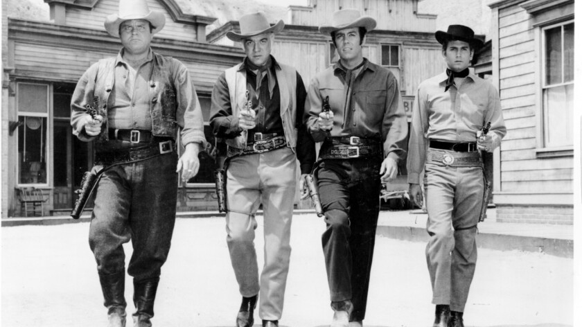 "The Cartwright family on ""Bonanza"" were played, from left, by Dan Blocker, Lorne Greene, Pernell Roberts and Michael Landon."