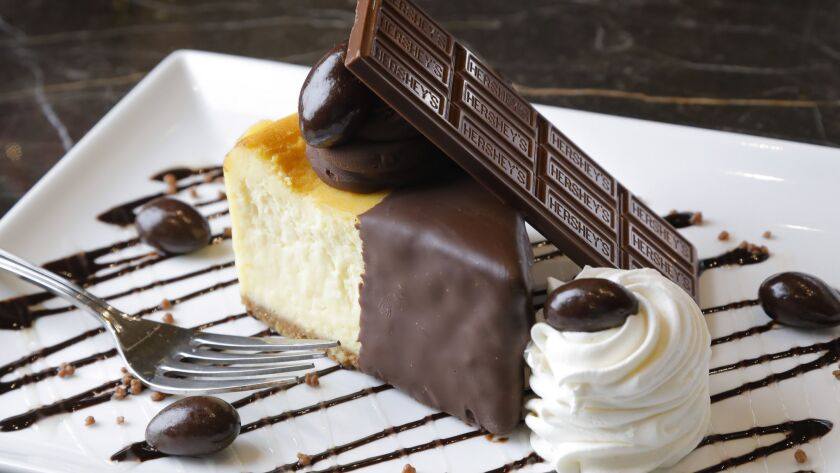 The chocolate dipped cheesecake, which is adorned with an XL Hershey's bar, is deliciously light and fluffy. But we'd pass on the whipped cream.