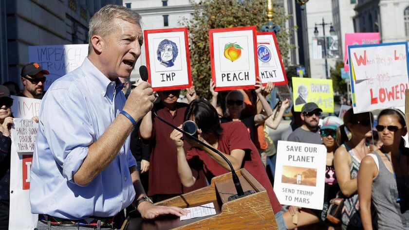 Tom Steyer speaks at a rally calling for the impeachment of President Trump in San Francisco on Oct. 24, 2017.
