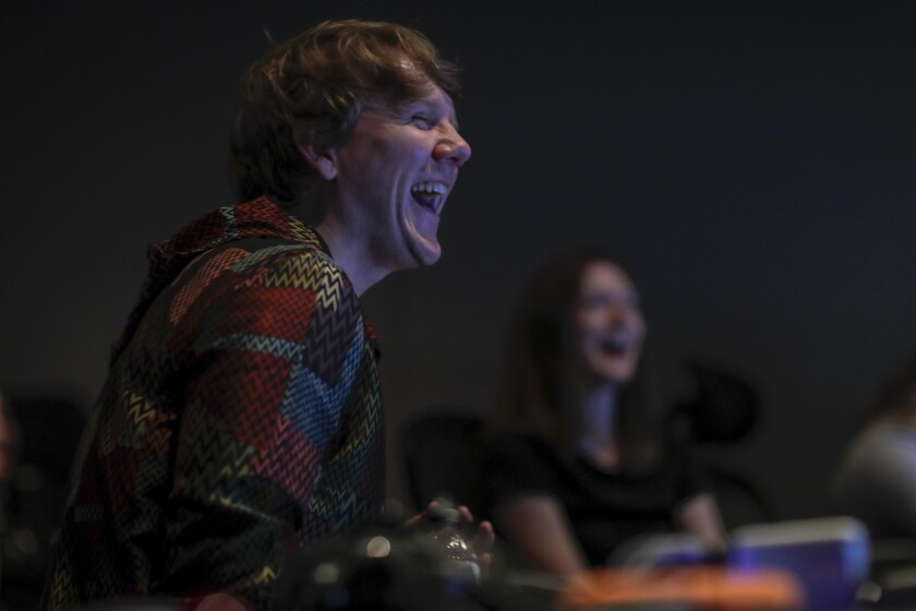 "Josh Thomas, whose first American TV series, ""Everything's Gonna Be Okay,"" debuts Jan. 16 on Freeform, gives notes at a sound mix for the series' first season."