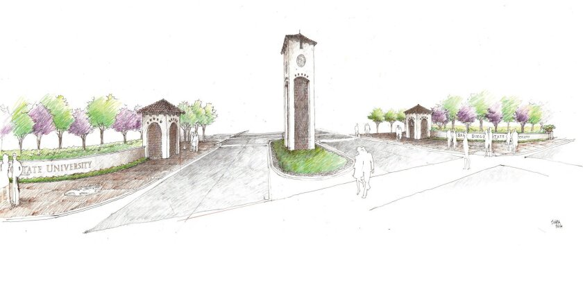 A rendering of the proposed gateway to San Diego State at Campanile Drive and Montezuma Road.