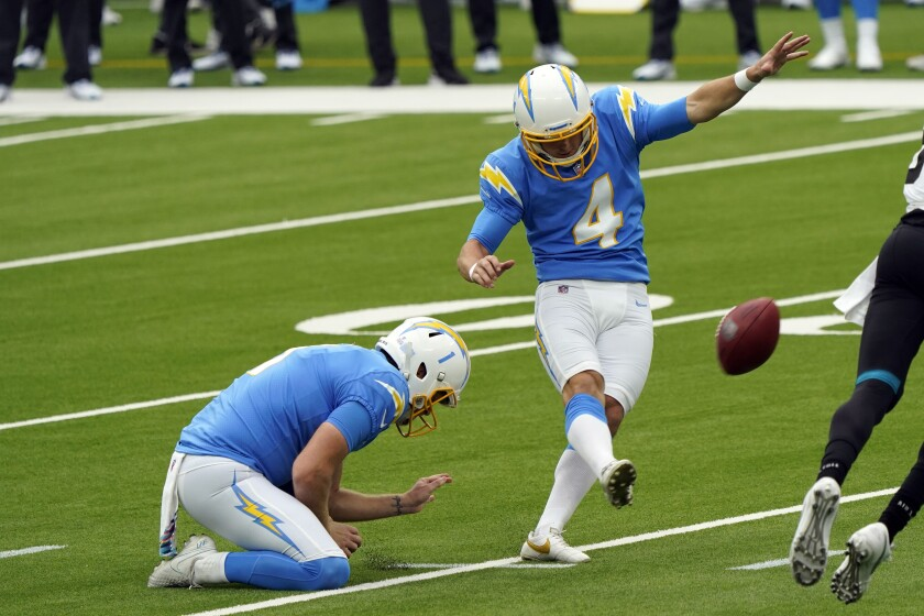 Chargers kicker Michael Badgley makes one of his two field goals against the Jacksonville Jaguars.
