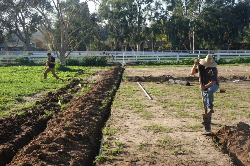 Farmers prepare a 'soil sock' farm at the Leichtag Foundation property on Saxony Road.