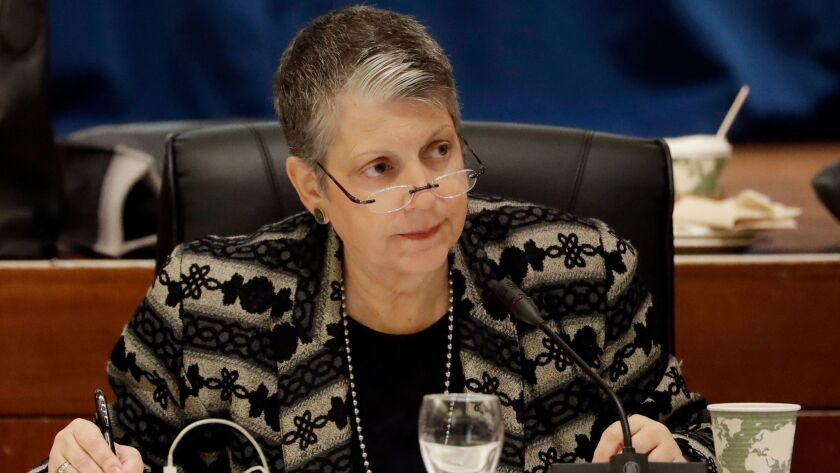University of California President Janet Napolitano attends a University of California Board of Regents meeting in San Francisco on Jan. 25.