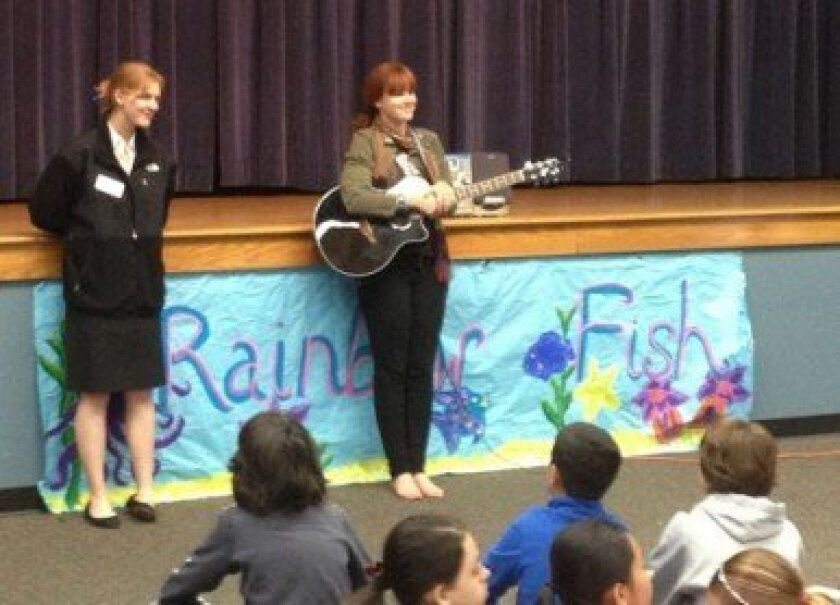 Tarla Hill and Emily Laliotis at Sage Canyon Elementary School.