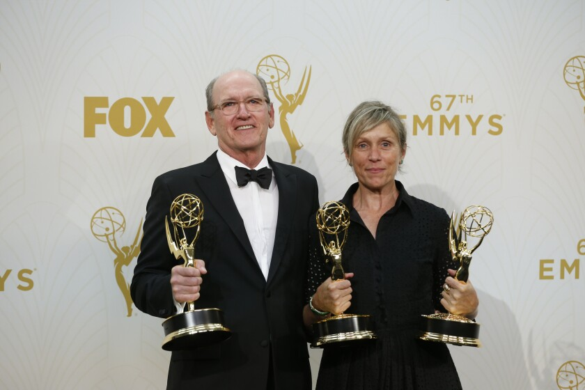 """Oliver Kitteridge"" actors Richard Jenkins and Frances McDormand at the 67th Primetime Emmy Awards."