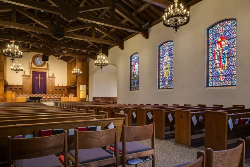 An interior view of La Jolla Presbyterian Church.