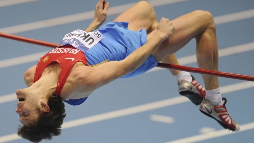 Russia's Ivan Ukhov makes an attempt in the men's high jump final during the Athletics Indoor World