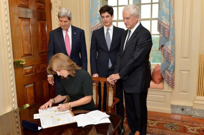 Caroline Kennedy signs appointment papers to become ambassador to Japan
