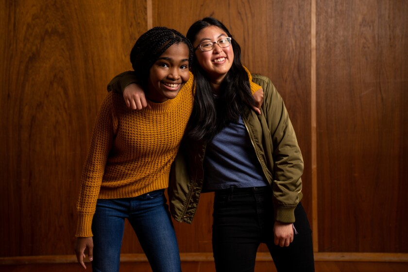 """Rosdely Ciprian, left, who played a high school debater on Broadway, and Jocelyn Shek, who is making her debut, will alternate performances in the Los Angeles run of """"What the Constitution Means to Me."""""""