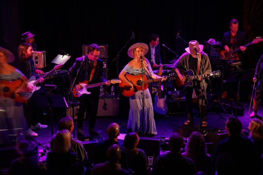 Margo Price and Bob Weir perform during a tribute to John Prine at The Troubadour on Saturday, Febru
