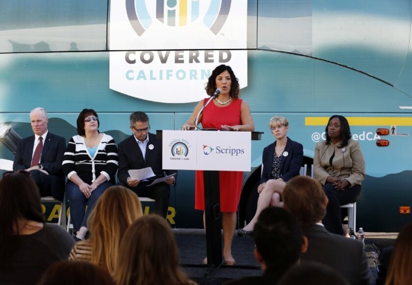 Leticia Cazares, of the San Ysidro Health Center speaks at a Covered California kickoff event hosted  hosted by Scripps Mercy Hospital in Hillcrest on Oct. 30.