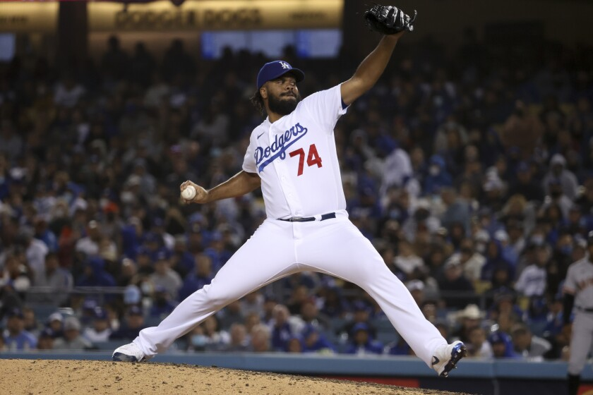 Dodgers relief pitcher Kenley Jansen delivers a pitch.